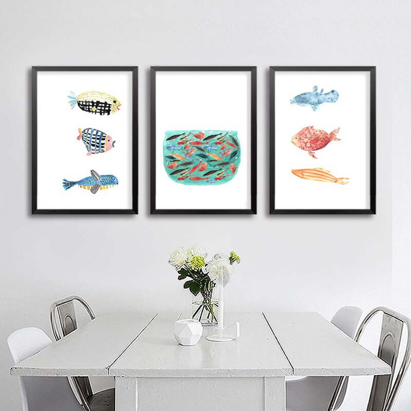 LZN, moderno, Pez Dorado, lienzo, carteles e impresiones, nórdico abstracto, cuadros de pared Pop para cocina, sala de estar, decoración del hogar