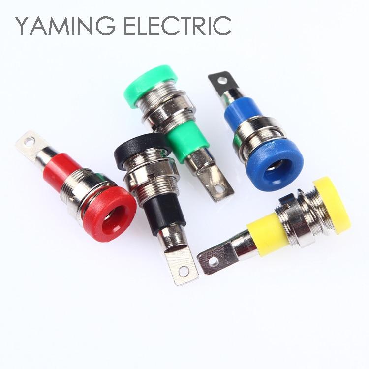 P15 cobre puro 4mm banana plug conector eletrônico terminais jack parafuso-tipo cabeça de banana vermelho, preto, verde, azul, amarelo