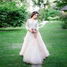 رومانسية 2020 قصيرة الأكمام الدانتيل فساتين الزفاف خط V الرقبة تول مطرز الربيع حديقة الزفاف اللباس رخيصة Vestidos دي noiva