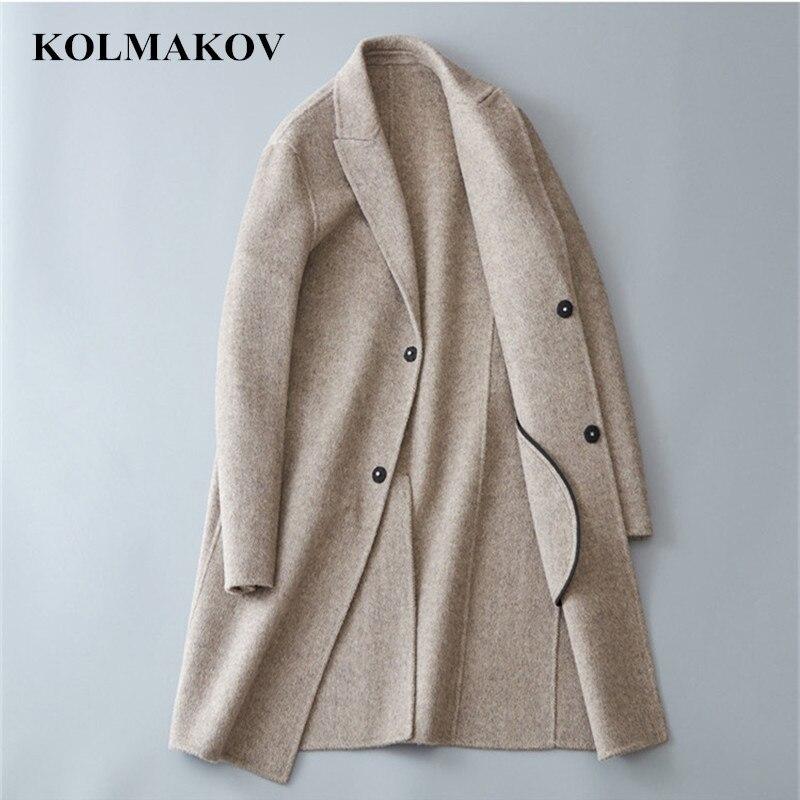 KOLMAKOV, ropa para hombres, nueva moda, abrigos de lana para hombres, estilo coreano, doble cara, rompevientos de lana, prendas de vestir largas de otoño, prendas de vestir M-3XL