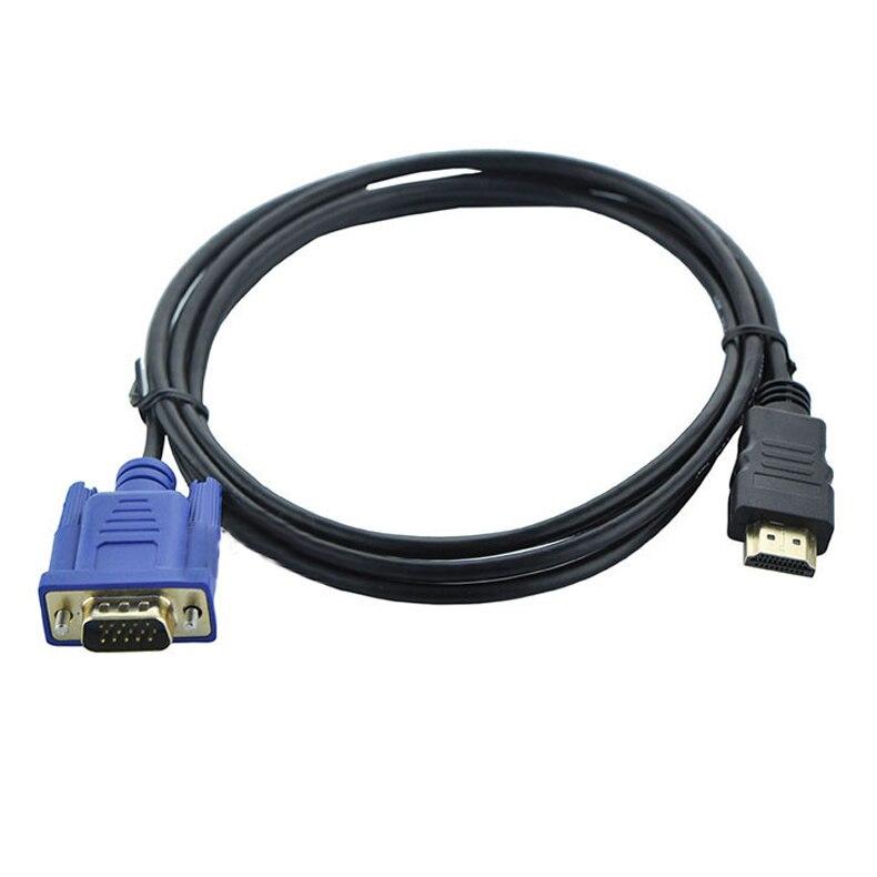 Alta calidad 6FT 1,8 M HDMI a VGA Cable macho a macho adaptador de vídeo para HDTV ordenador portátil HDMI Cable Cabo adaptador QJY99