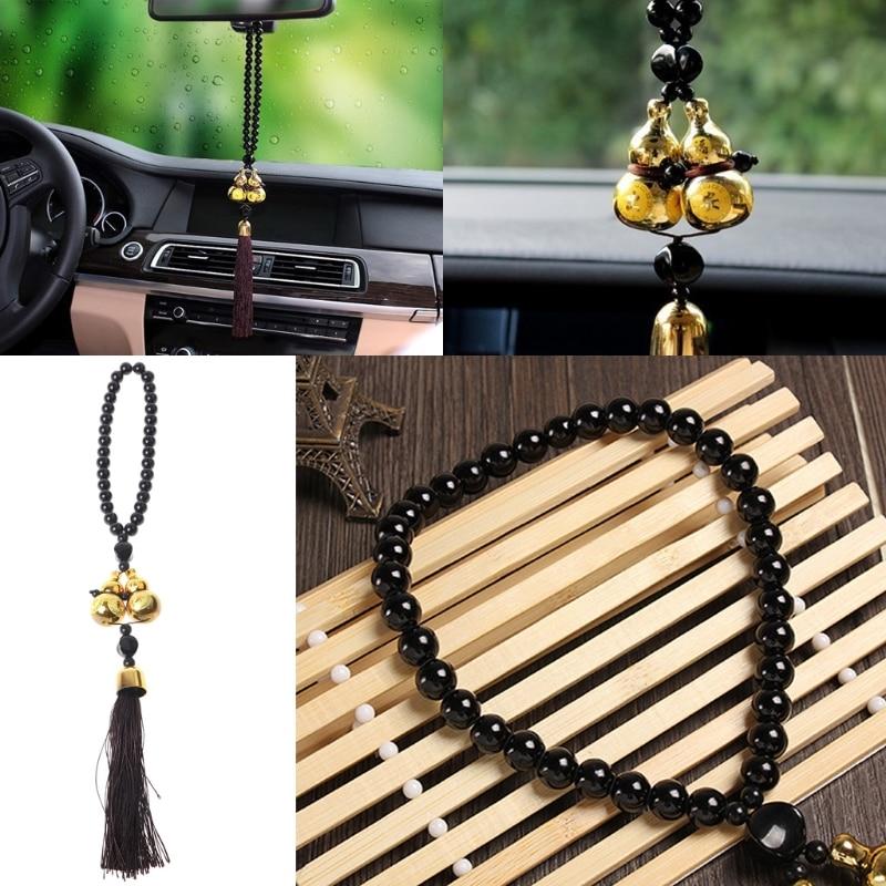 1 pc universal banhado a ouro duplo cabaça amuleto talismã presente pingente espelho retrovisor do carro decoração