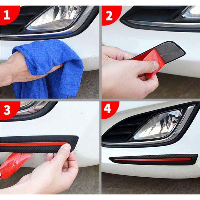 2 шт Автомобильная наклейка бампера Защита от царапин для автомобиля передний/задний край угловая Защита от царапин Декоративная полоса кр...