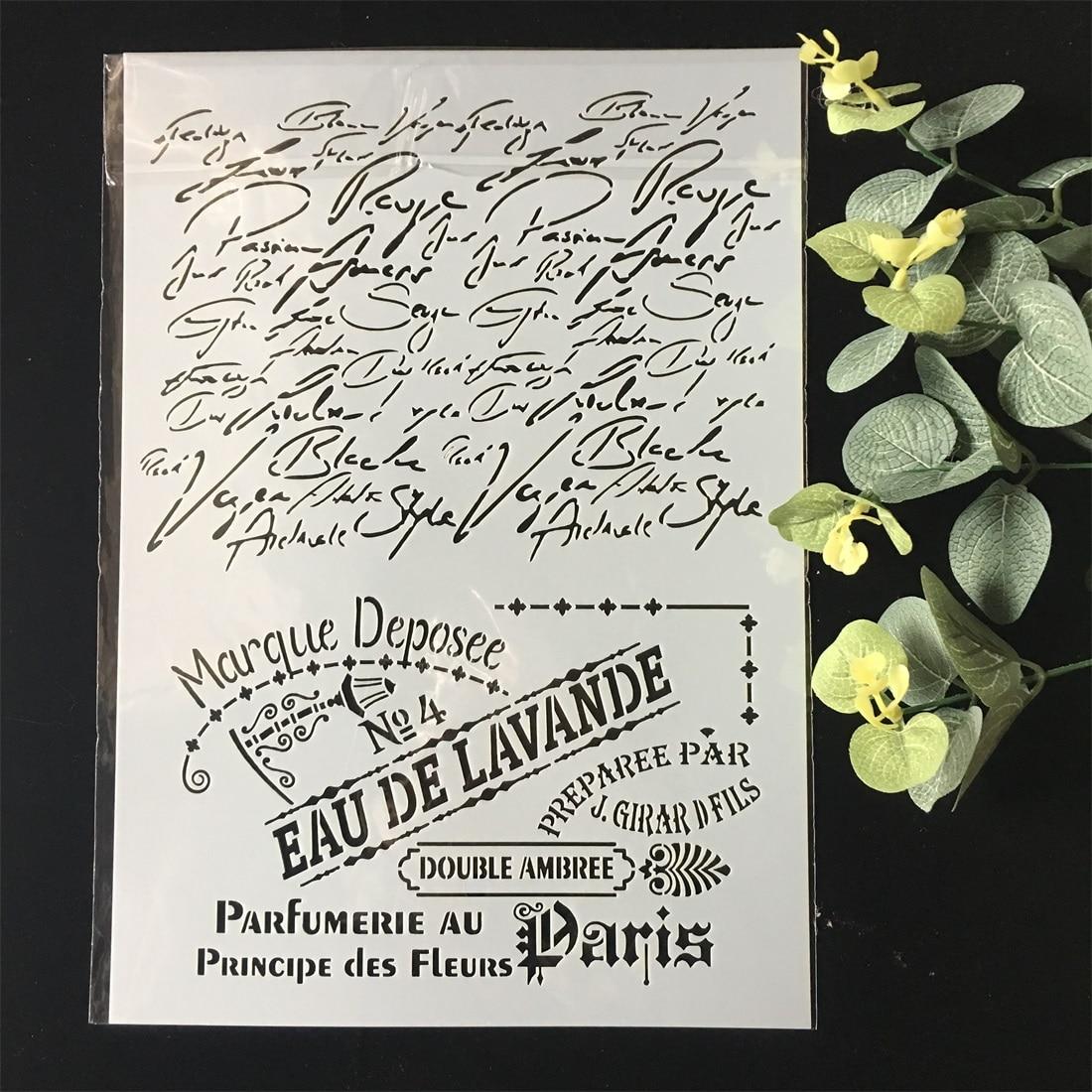 Novo a4 francês paris palavras diy estênceis em camadas pintura de parede scrapbook colorir gravação álbum decorativo papel cartão modelo