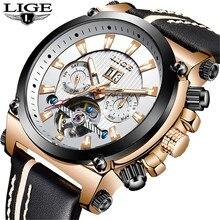 LIGE 2019 nouveaux hommes montres Top marque de luxe automatique mécanique montre mâle en cuir étanche Sport montre-bracelet Relogio Masculino