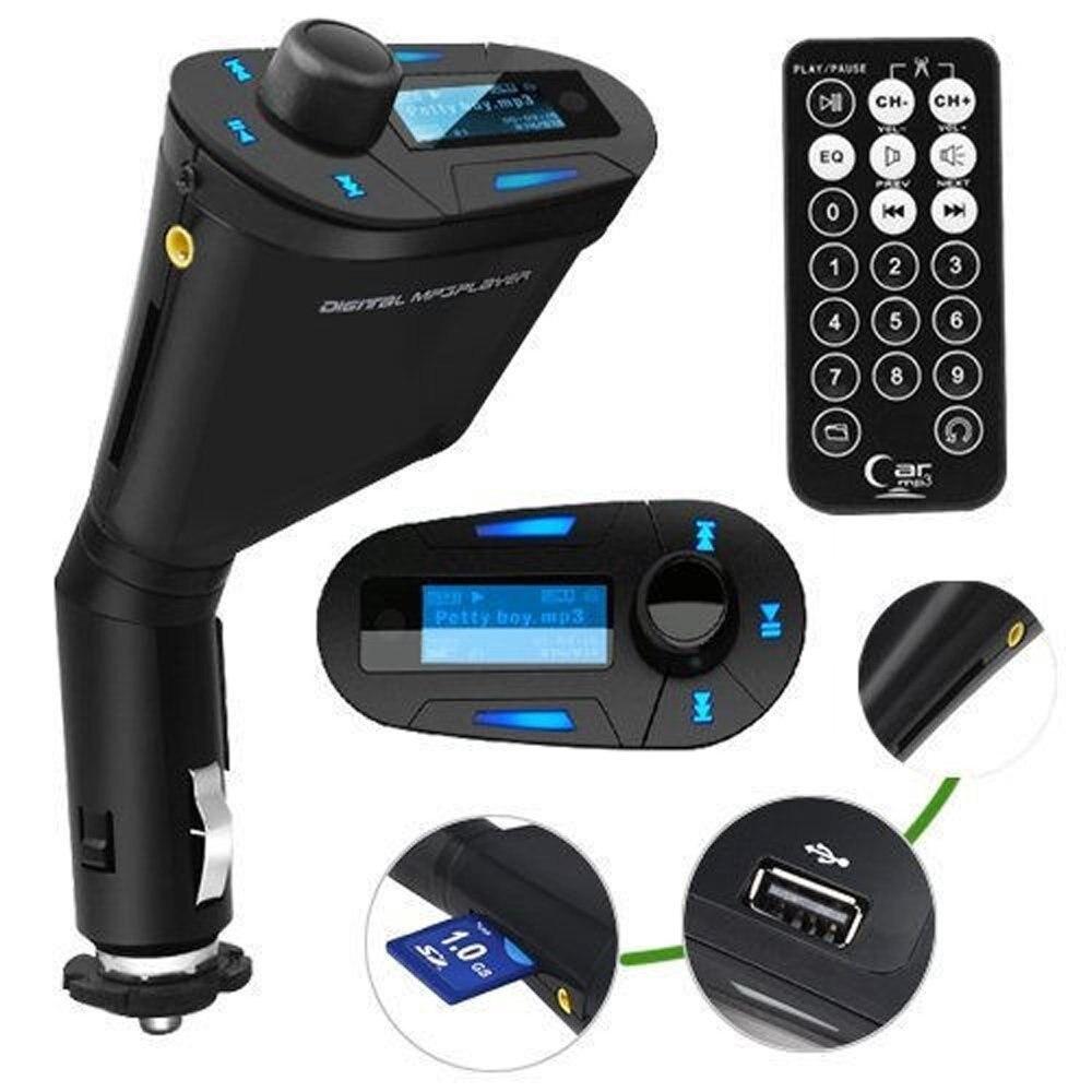 Hot Promotie! Rode LCD Auto MP3 Speler Draadloze Fm-zender Modulator USB SD MMC + Zekering + Afstandsbediening Auto Kit Muziek speler