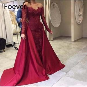 Modest Burgundy Long Evening Dress 2017 New Lace Long Sleeves Mermaid Prom Dresses with Detachable Train Custom Robe de soiree