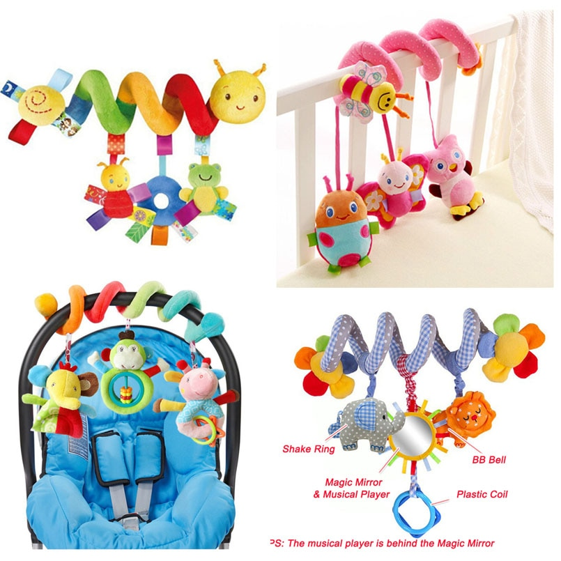 Развивающие детские погремушки, мобили с животными, спиральные погремушки, игрушки для детской коляски, погремушка в кровати, детские игров...