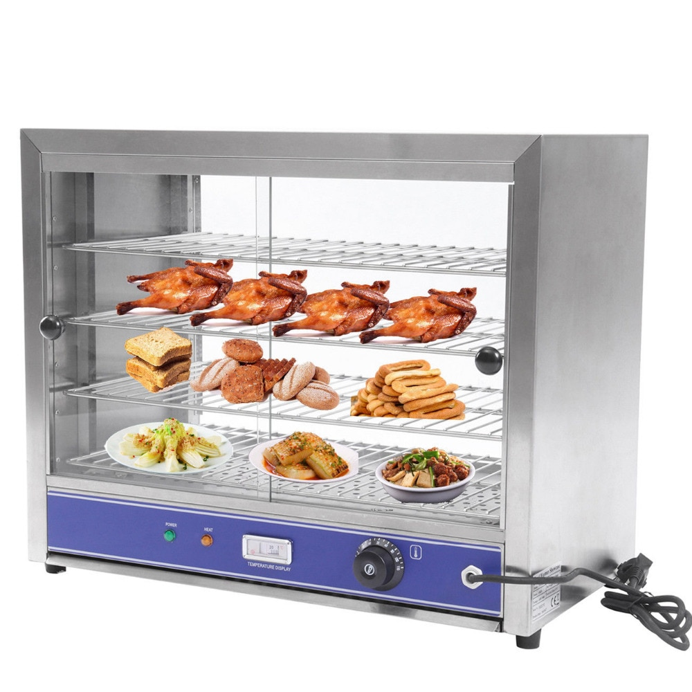 Vitrina eléctrica de 4 niveles de 1000W, vitrina calentada superior, calentador de Pie, calentador de alimentos