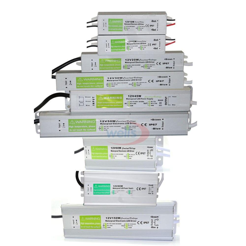 Impermeable IP67 controlador de LED Ac dc 12V/24V 10W 15W 20W 25W 30W 36W 45W 50W 60W 80W 100W 120W 150W fuente de alimentación para LED de luz de tira
