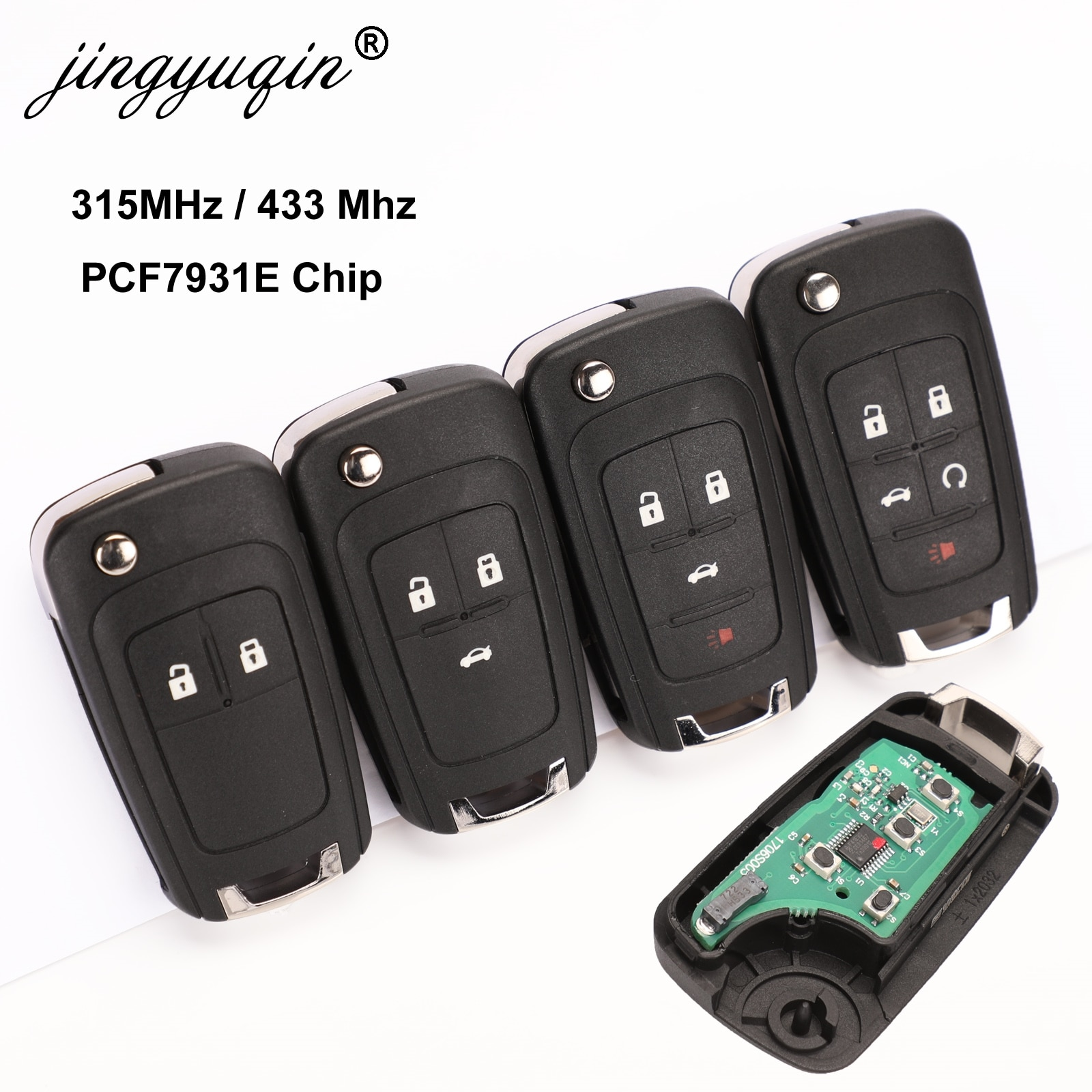 Jingyuqin 10 pçs/lote 2/3/4 botões de controle remoto fob flip dobrável chave para chevrolet lova vela aveo cruze 315/433mhz pcf7937e