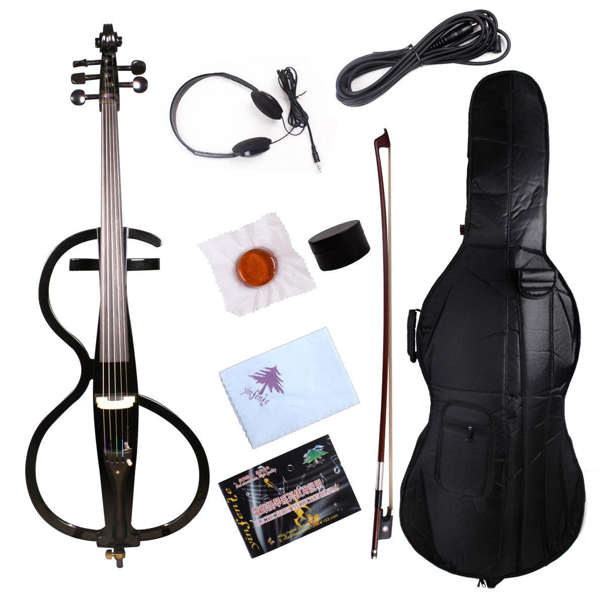 Yinfente-violonchelo eléctrico, 5 cuerdas, 4/4 negro, madera maciza, bolsa de sonido dulce,...