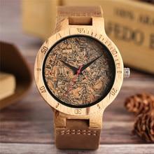 Montre en bois pour hommes Unique liège scories/feuilles cassées cadran horloge bois Quartz horloge hommes femmes bracelet en cuir véritable montres