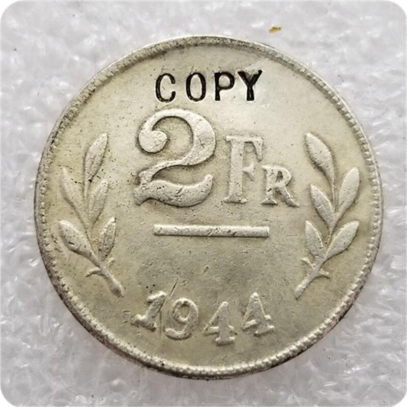 1944, Bélgica, 2 FR (2 Frank), plata hecha con copia de error, monedas conmemorativas, monedas réplica, medallas de monedas coleccionables