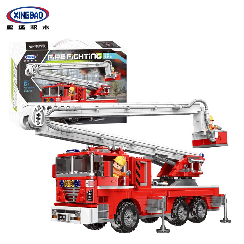XINGBAO 03029 de la serie elevar fuego camión bloques de construcción ladrillos juguetes modelo de coche juguetes regalos de cumpleaños de los niños
