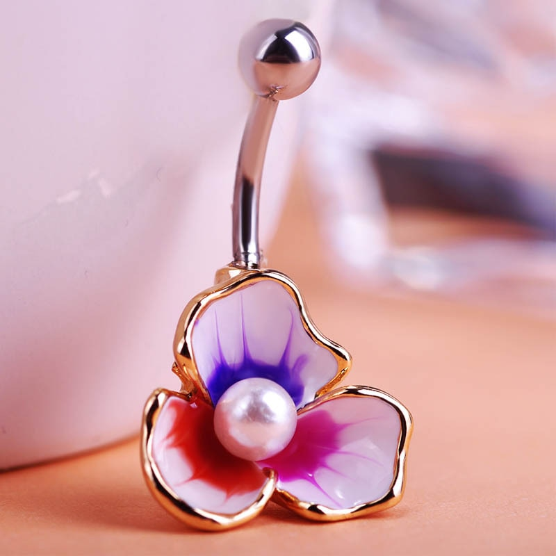 Illuminati Esmaltes perla de esmalte cuentas flores Piercing ombligo Piercing del cuerpo Piercing Violetta gótico Accesorios