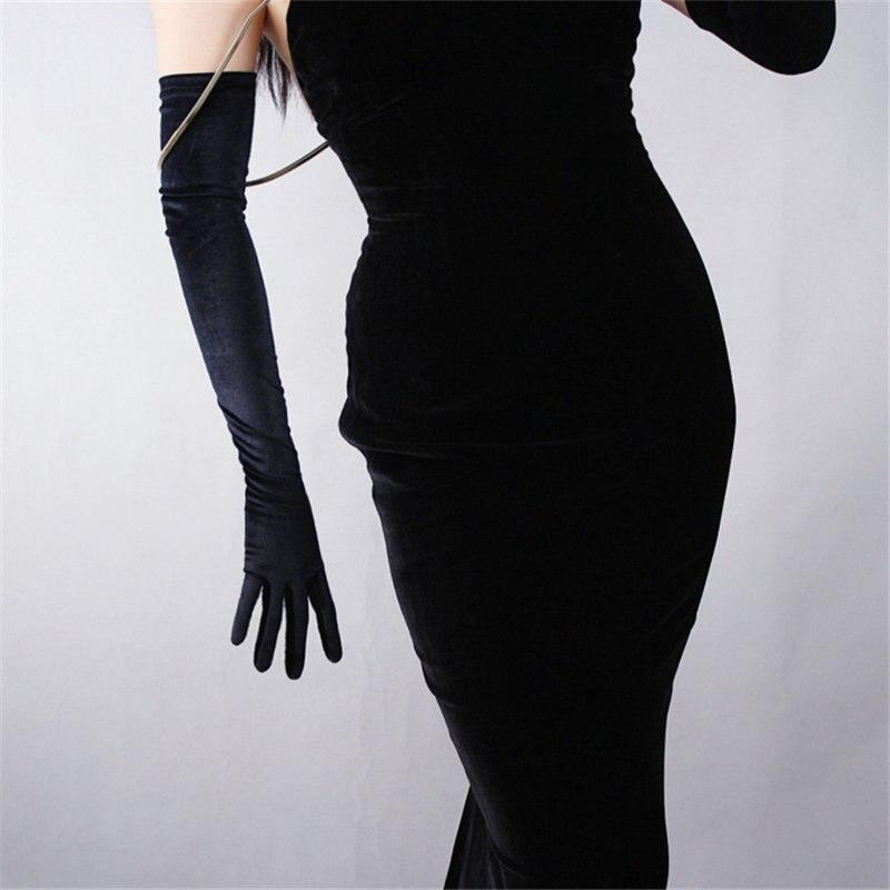 Black Velvet Women Gloves 60cm Long Vintage High Elasticity Evening vestido Gloves Fashion Elegant Lady Mittens TB20-9
