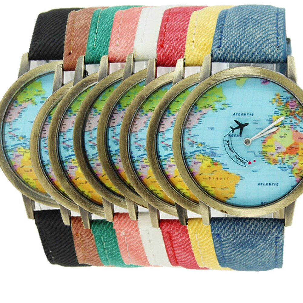 Women Watch Bronze Dial World Map Flight Airplane Watch Travel World Denim Strap Quartz Watches Women Dress Wristwatch Gifts