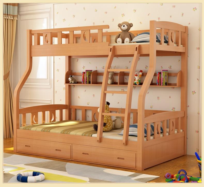 سرير بطابقين مع درج للأطفال ، متعدد الوظائف ، بيئي