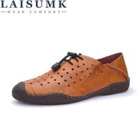 laisumk classics gladiator men genuine leather sandals casual breathable cut outs summer male shoes hook loop flats