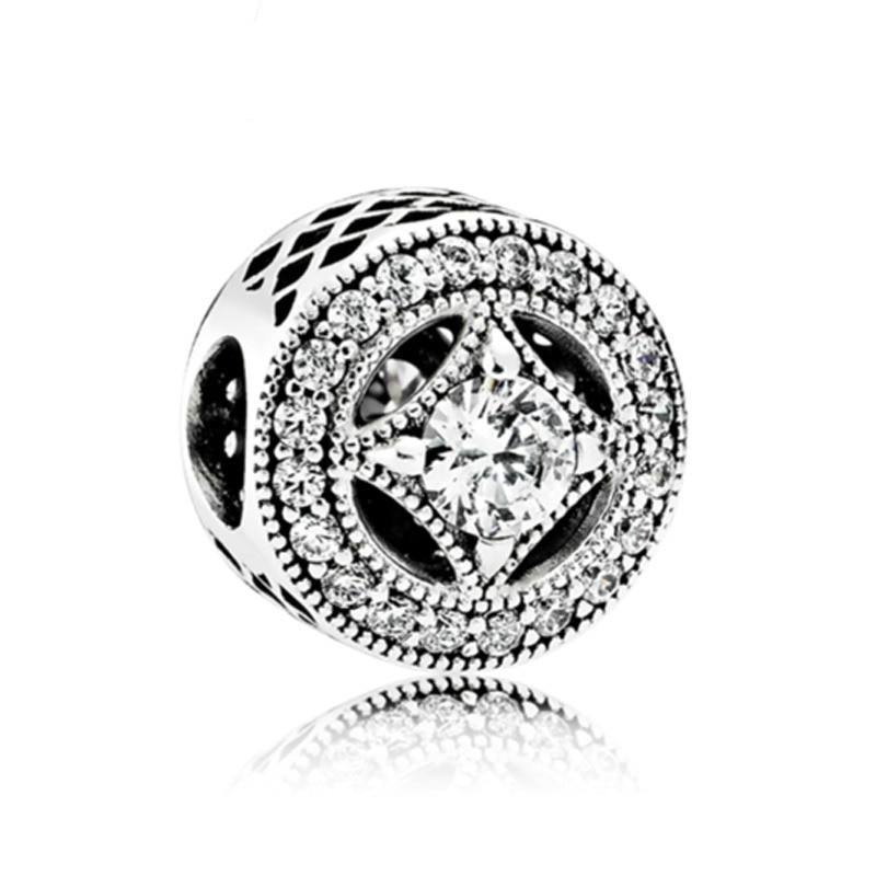 5PCS Fashion Perles Rhinestone Silver Plated Rhombus Round Bijoux Bead Fit Handmade Pandora Charms Bracelet Wholesale DIY Bead