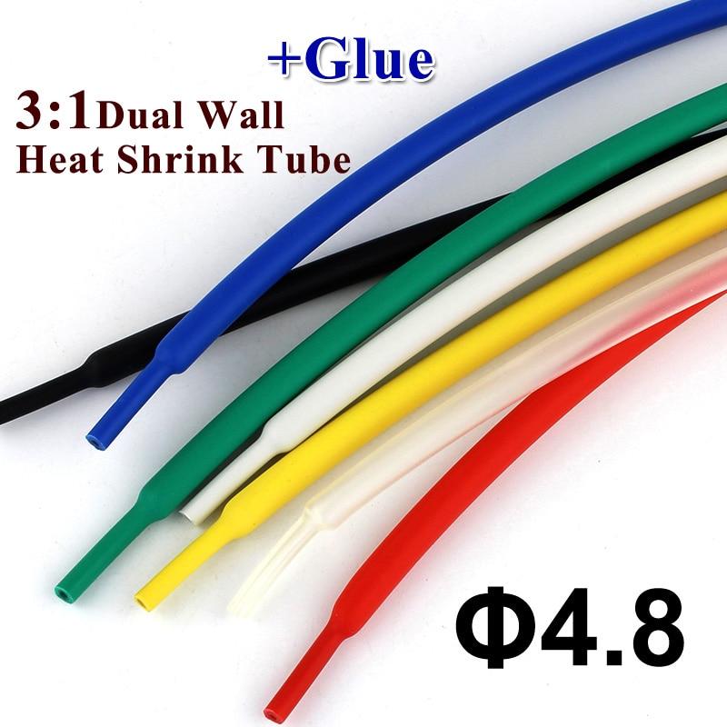 1 metros/lote 4,8mm Tubo termoretráctil con pegamento 3:1 relación tubo retráctil de pared Dual revestimiento adhesivo envoltura de alambre kit de Cable de pared gruesa