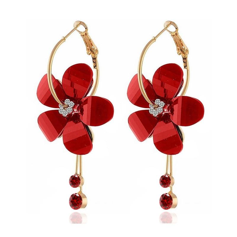 Lilac small flower ear nail inlay character big ear ring acrylic earrings Korean version ear ornaments exaggerated earrings
