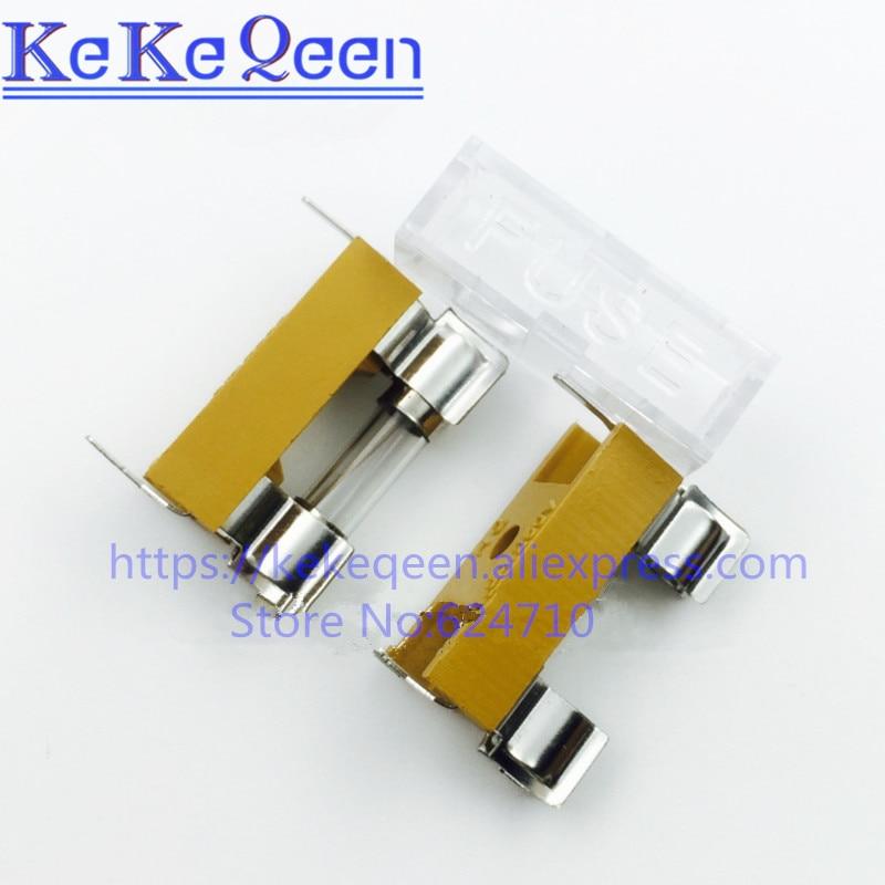 10 PÇS/LOTE base de 6*30 MM Fusível tubo de vidro do fusível 6x30mm caixa de tubo de seguros fusível clipe amarelo fita fusível titular com tampa transparente