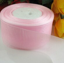 Rubans décoratifs de noël (2 (50mm)   Rubans en organza rose, emballage cadeau, vente en gros, rubans de noël, D043, 10 yards/lot