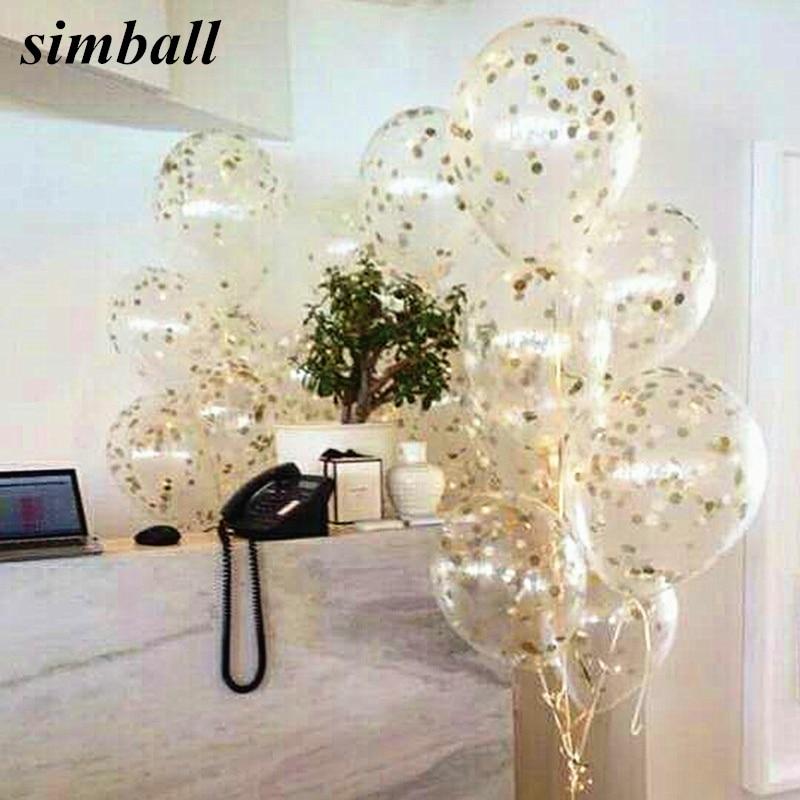 10 pièces gonflable confettis ballon bébé douche 12 pouces Latex clair ballons enfants fête danniversaire décorations de mariage ballon dhélium