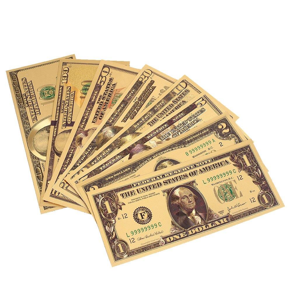 Billet couleur or 1 2 5 10 20 50 100 Dollar   Faux billet, pièce de monnaie, décoration de bonne qualité, Art, pour la maison