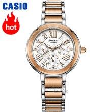 Montre Casio Swarovski Crystal femmes montres top marque de luxe ensemble dames regarder les femmes 50m imperméable quartz montre-bracelet Luminous Rose Gold Gifts horloge Sport Watchs reloj mujer relogio feminino