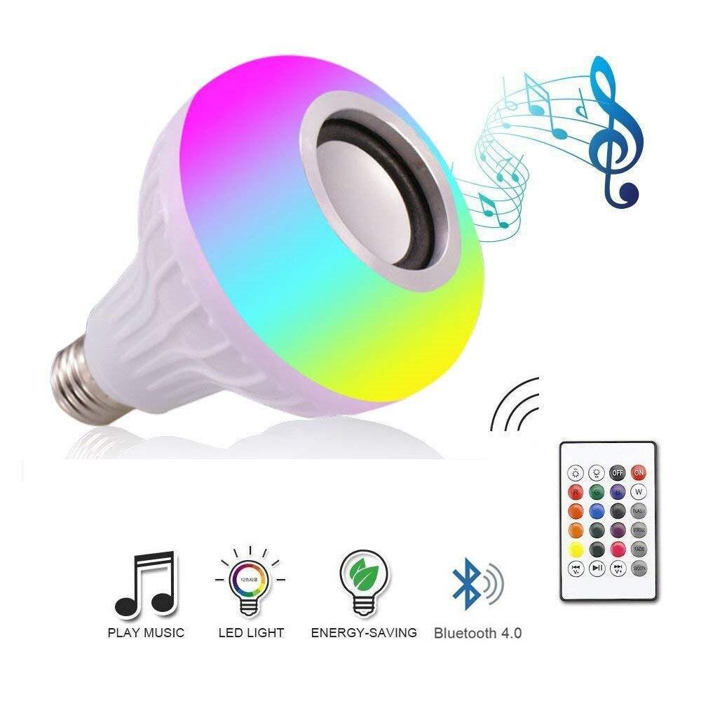 DZLST Altavoz Bluetooth bombilla LED inteligente E27 RGB luz 12W reproducción de música lámpara Led inalámbrica regulable con 24 teclas de Control remoto