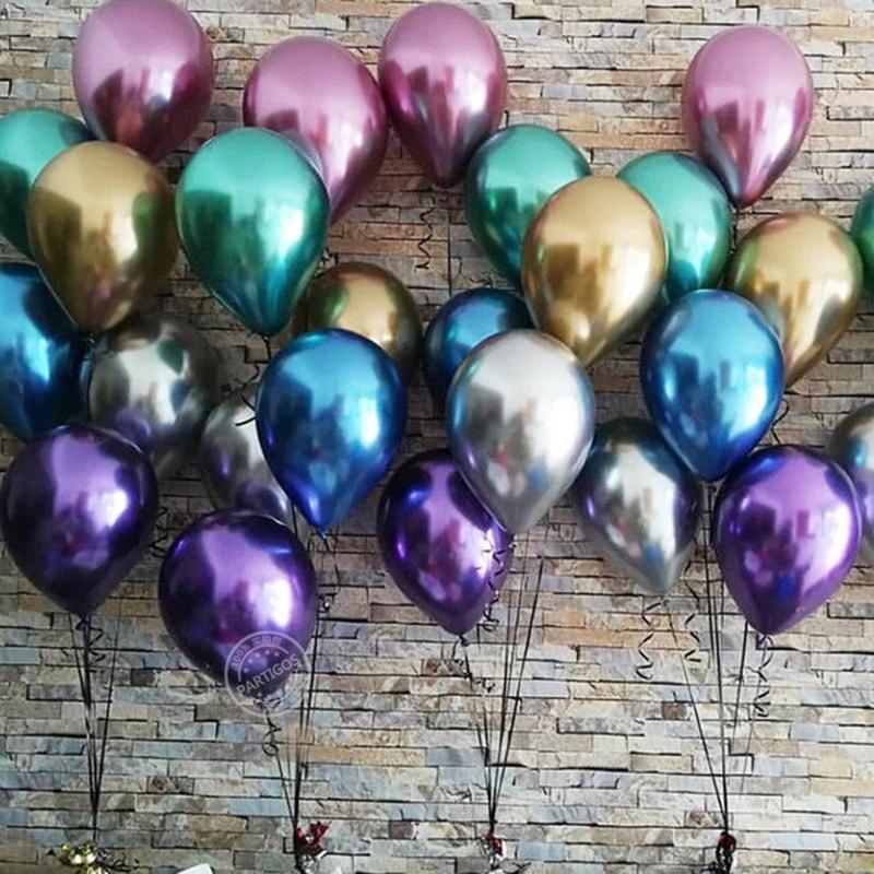 1 Набор 50 шт 5/10 дюймов новые хромированные шары из латекса цвета металлик металлические глобусы надувные гелиевые шары для дня рождения Декор баллон-2