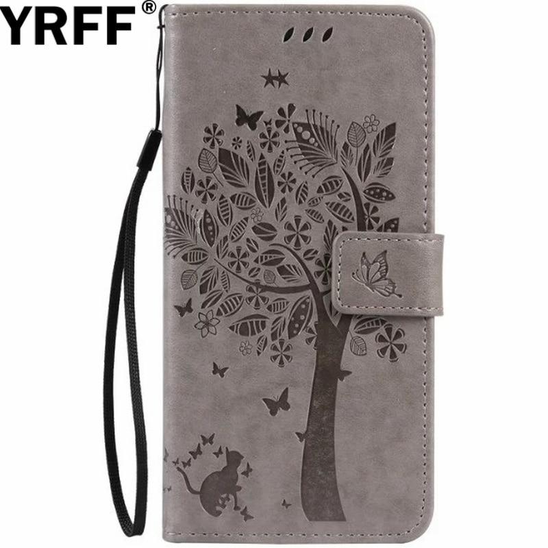 YRFF Fundas pour samsung galaxy note 7 note 5 note 4 note3 coque de téléphone pour samsung C7 C5 arbre chat impression flip étui en cuir