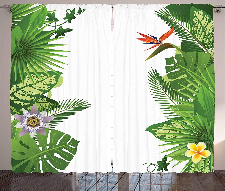 Cortinas tropicales, Bosque Lluvioso de Hawái con Frangipani Philodendron, pájaros del paraíso, sala de estar, dormitorio, ventana