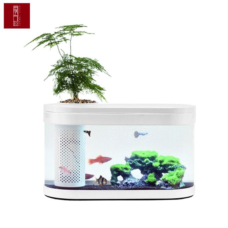 Xiaomi Original geometría peces tanque Aquaponics Ecosystem pequeño jardín de agua ecológico pecera acuario transparente