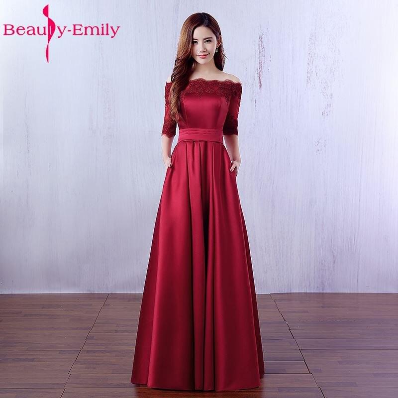 Vestidos De Noche largos De color rojo vino elegantes De belleza De Emily, vestidos De noche 2020 Bolsillo De encaje De satén hechos a medida para mujeres, vestidos De fiesta De graduación, bata De noche