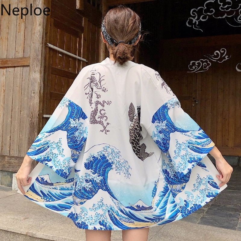 Neploe, blusas Vintage japonesas, camisas Harajuku, Kimono con estampado de ondas, camisa de talla grande para mujer, quimono gótico, Blanco, Negro, Tops, abrigo