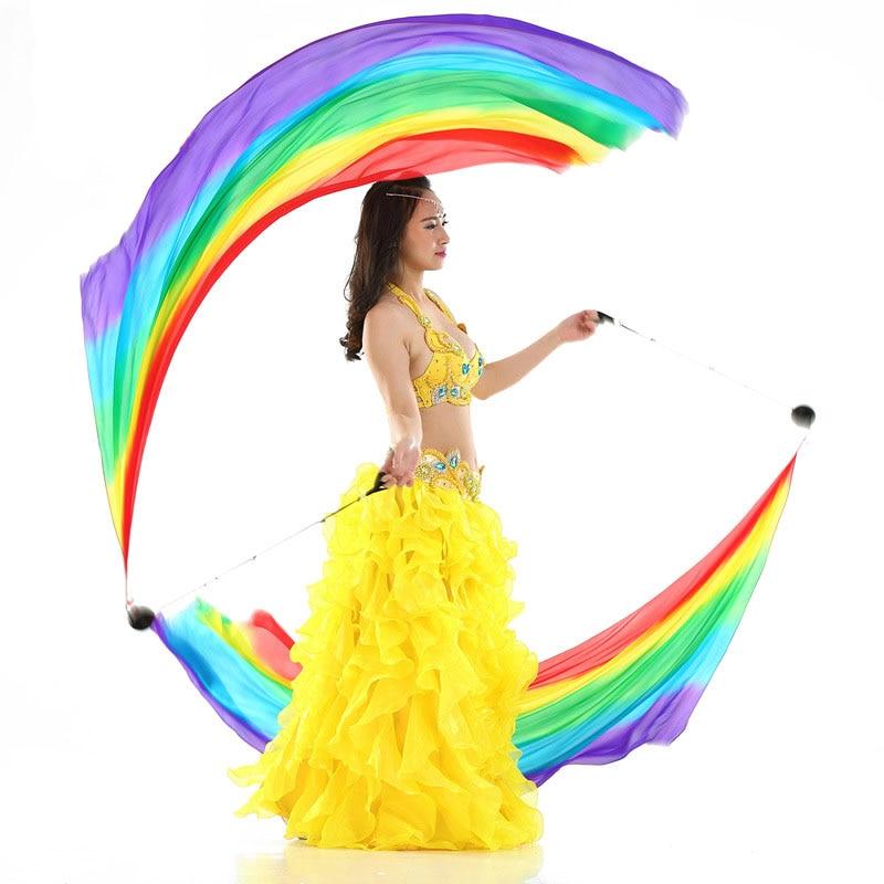 Velo Poi de seda Real para danza del vientre Oriental para adultos, cadena con bolitas para mujeres, traje de danza del vientre, accesorios de baile para 2 manos