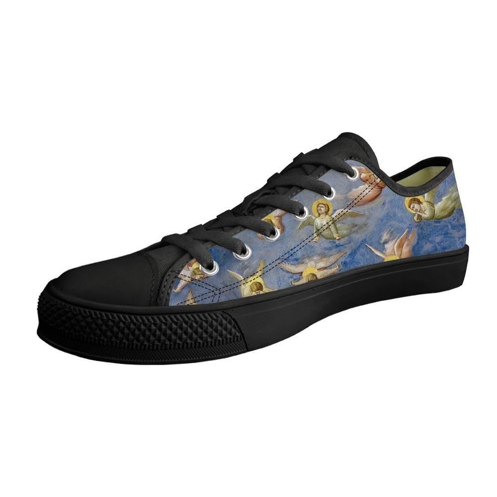 Primavera otoño casuales de los hombres zapatos clásicos de Madonna y Jesus pintura arte zapatos Low top negro de lona vulcanizados de lona zapatos al aire libre