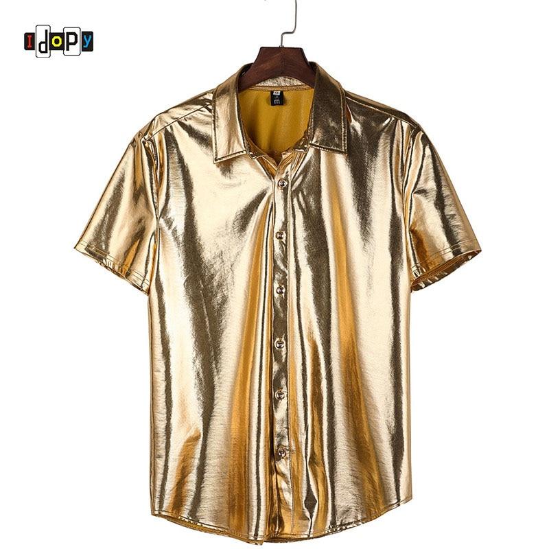 Idopy camisas de oro para hombre, Club nocturno recubierto metálico puesta en escena, botón de manga corta, disfraz de fiesta de Halloween, ropa para escenario