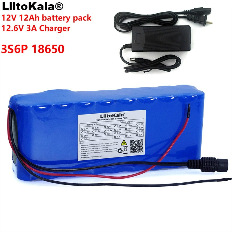 LiitoKala 12v 12A 18650 Lithium Battery 12000 mAh Capacity Lithium Battery Including Protective Plate + 12.6v 3A Charger