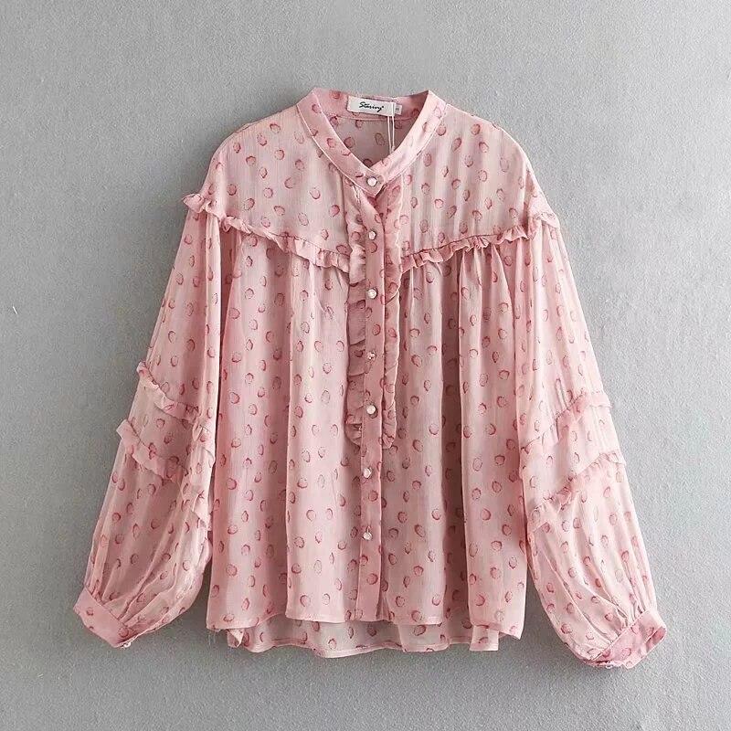 Blusa holgada con estampado de algodón con decoración fruncida para Mujer, camisas con mangas de linterna, camisetas rosas, Blusas de verano 2019 para Mujer S5637