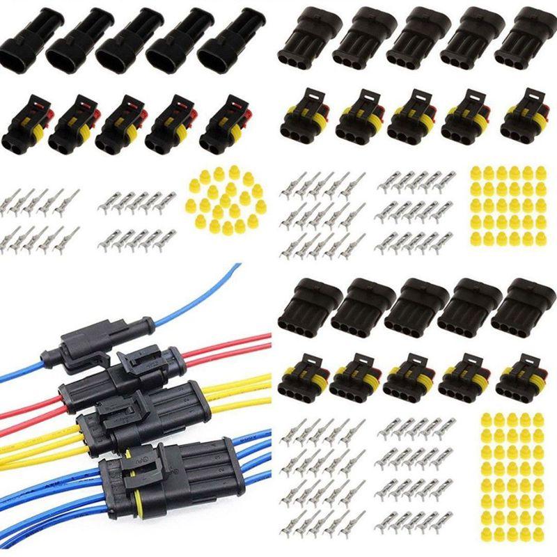 15 Kits 2 + 3 + 4 pines forma Auto sellado impermeable conector de cable eléctrico