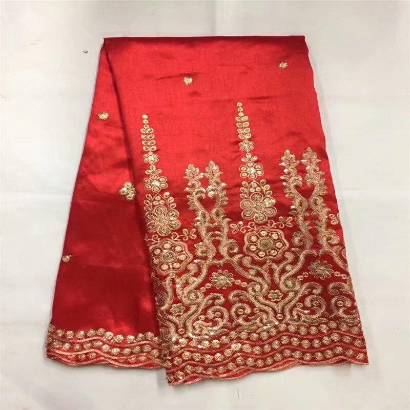 Tela de encaje George africano, envoltorios George de seda cruda de encaje rojo de alta calidad, telas de encaje nigeriano 2018 para zgl4-74 de boda