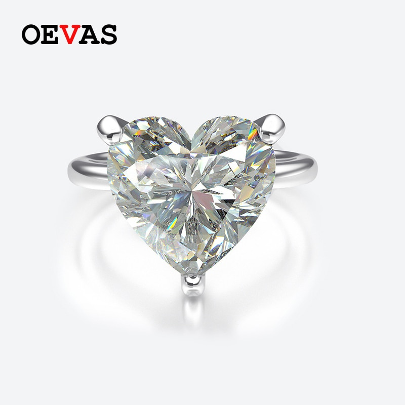 Elegantes anillos de boda de plata Moissanite con corazón S925 para mujer, joyería de piedra de nacimiento blanca, rosa, roja, azul, púrpura, amarilla