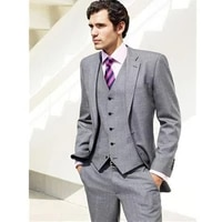 lastest designs light grey men suit business wear slim fit formal man suit groom suits wedding tuxedo custom made 3 pieces