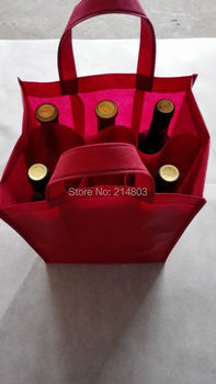 (500PCS/lot) PP Non woven750ml 6 bottles wine bag with logo
