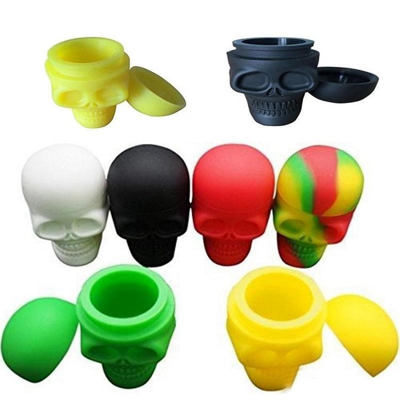 Assort Colors 15 мл силиконовый контейнер для воска в виде черепа баночка с платиновым маслом, косметические контейнеры FDA для пищевых продуктов, Slicone, антипригарная